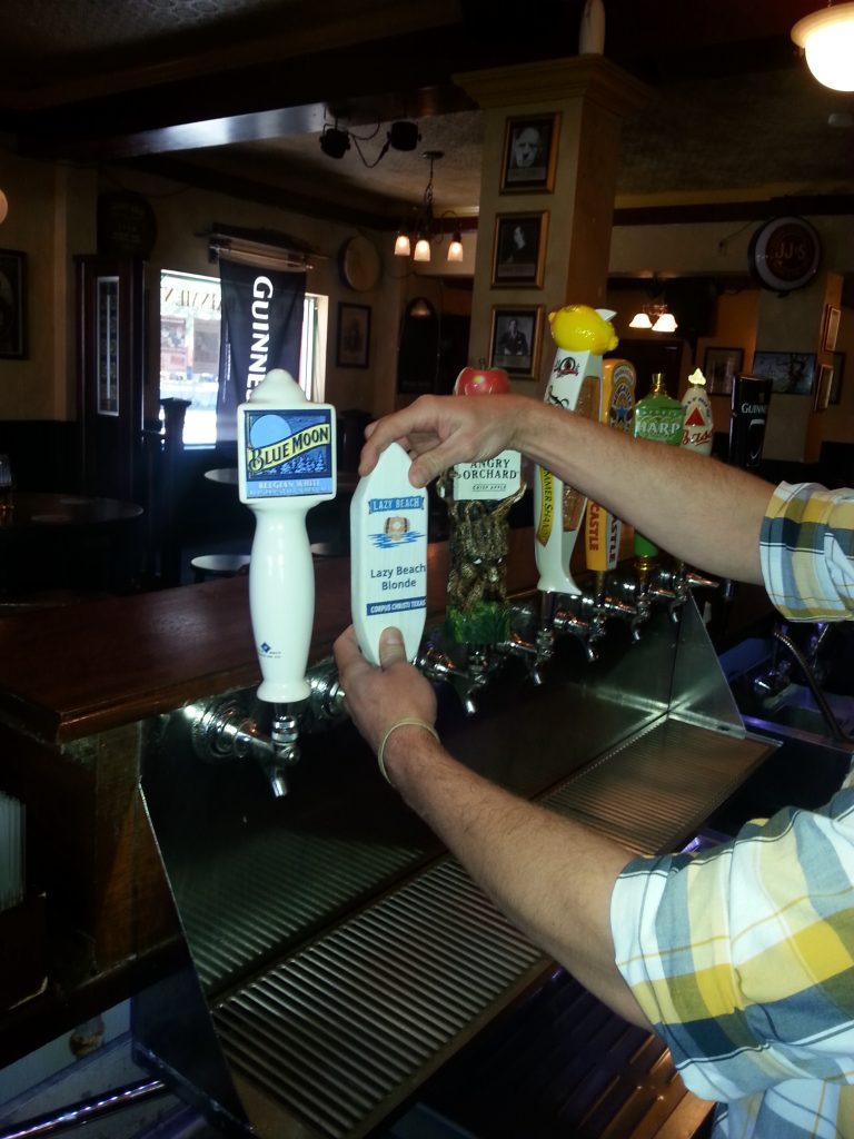 Lazy Beach Blonde tap handle being added