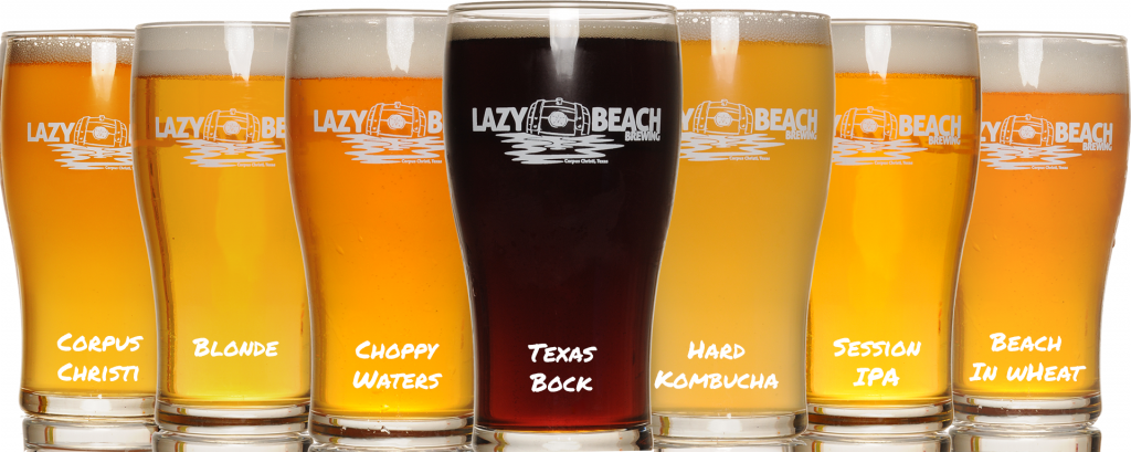 Lazy Beach Lineup - Texas Bock, Hard Kombucha, cHoppy Waters, Blonde, Corpus Christi, Session IPA