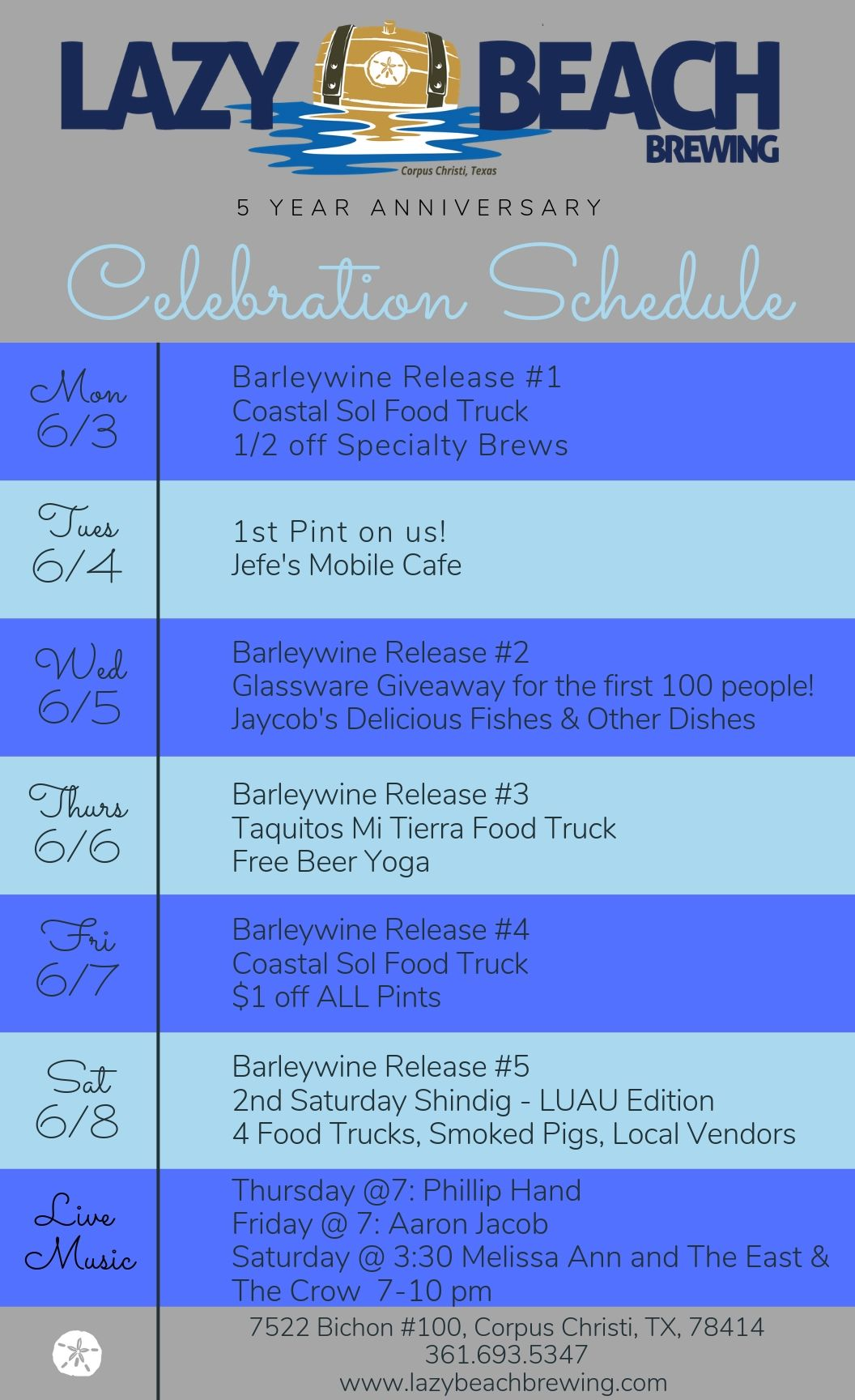 5 Year Celebration Schedule!