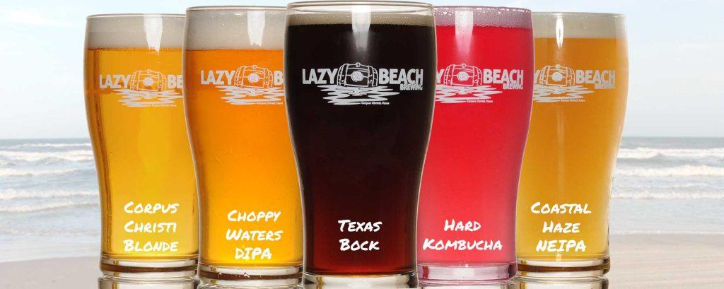Lazy Beach Core Beer Lineup - Corpus Christi Blonde, Choppy Waters DIPA, Texas Bock, Hard Kombucha, Coastal Haze