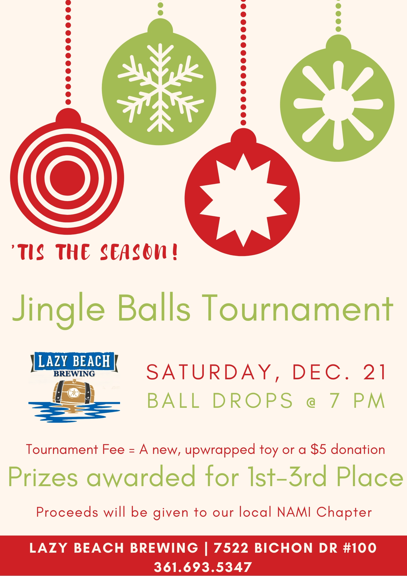 Jingle Balls Tournament tonight at 7!